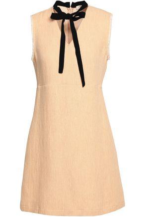 MAJE Pussy-bow frayed gauze mini dress