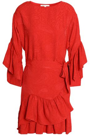 MAJE Tiered ruffled jacquard mini dress