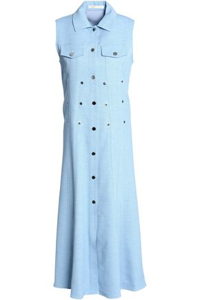MAJE Eyelet-embellished chambray midi shirt dress