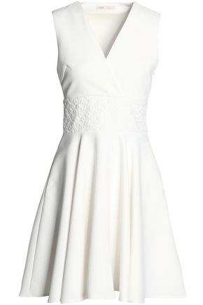 MAJE Embroidered crepe mini dress