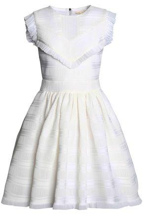 MAJE Ruffled satin-trimmed jacquard mini dress