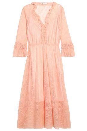 MAJE Ruffle-trimmed lace midi dress