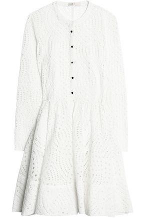MAJE Flared pleated broderie anglaise mini dress