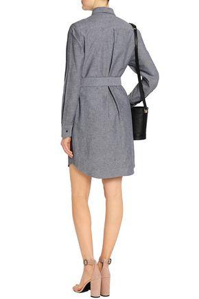 MAJE Belted cotton and linen-blend mini shirt dress