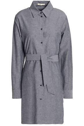 MAJE Belted cotton and linen-blend mini shirt dress