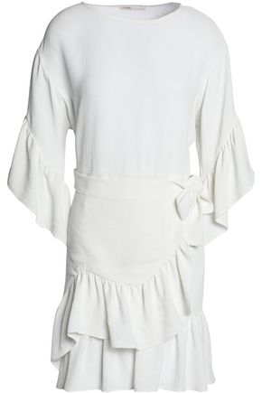 MAJE Ruffled belted cloqué mini dress
