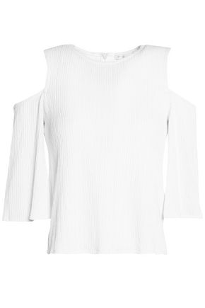 MAJE Cold-shoulder knitted top