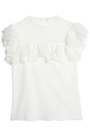 MAJE Ruffled point d'esprit-paneled silk-chiffon top