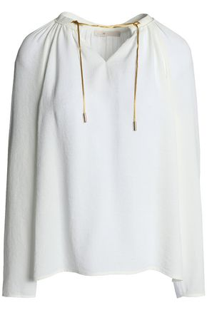 MAJE Satin-trimmed gathered crepe blouse