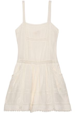 MAJE Crochet-trimmed cotton-gauze playsuit