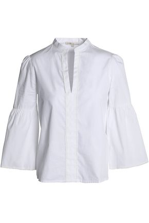 MAJE Picot-trimmed flared cotton-poplin shirt