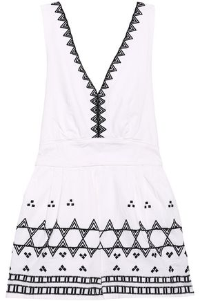 MAJE Embroidered cotton-blend playsuit
