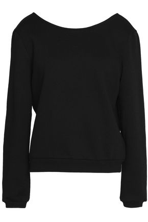 CLAUDIE PIERLOT Guipure lace-paneled cotton-blend sweater