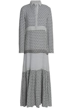 MAJE Printed cotton-gauze maxi shirt dress