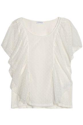 CLAUDIE PIERLOT Ruffled leaver's lace linen top