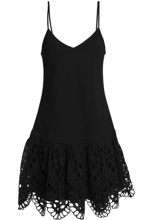CLAUDIE PIERLOT Tina broderie anglaise-trimmed cotton-jersey mini dress