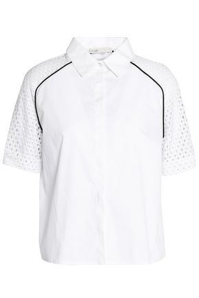 MAJE Lace-paneled cotton-poplin shirt