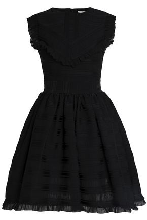 MAJE Pleated jacquard mini dress