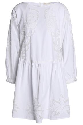 MAJE Embroidered cotton-poplin mini dress