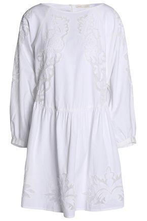 MAJE Embroidered cotton-poplin mini dress