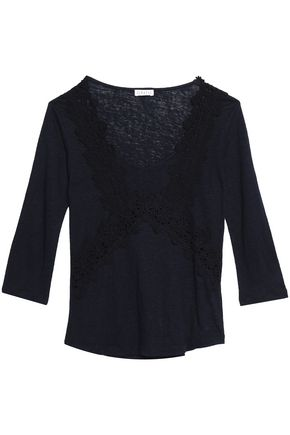 CLAUDIE PIERLOT Lace-appliquéd slub linen-jersey top