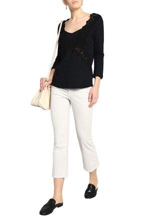 CLAUDIE PIERLOT Lace-appliquéd slub linen-jersey top