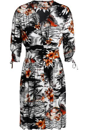 MAJE Wrap-effect printed crepe dress