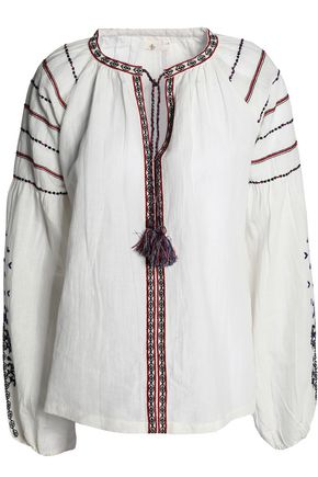 MAJE Tasseled embroidered cotton and linen-blend top