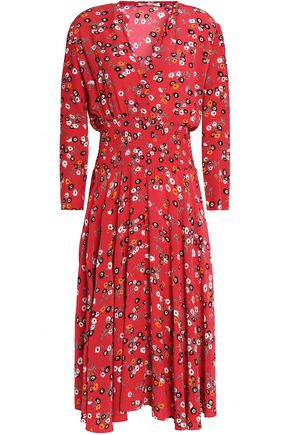 MAJE Pleated floral-print crepe de chine dress