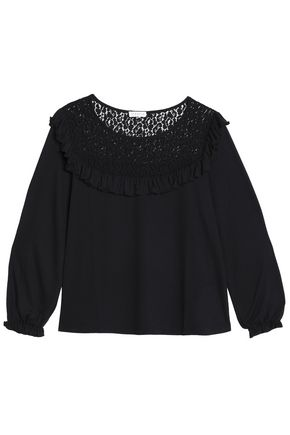CLAUDIE PIERLOT Lace-trimmed jersey top