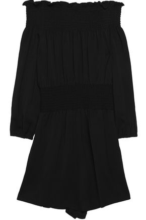 MAJE Off-the-shoulder piqué playsuit