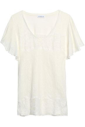 CLAUDIE PIERLOT Lace-trimmed slub linen-blend jersey top