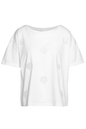 CLAUDIE PIERLOT Embroidered cotton-jersey top