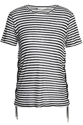 MAJE Lace-up striped knitted T-shirt