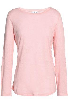 CLAUDIE PIERLOT Appliquéd slub linen-jersey top