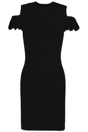 MAJE Cold-shoulder ribbed-knit mini dress