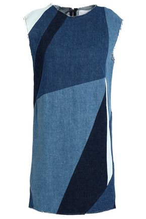 MAJE Patchwork denim mini dress