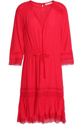 MAJE Ronsard lace-trimmed crepe dress