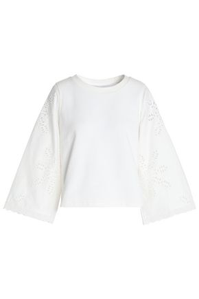 CLAUDIE PIERLOT Broderie anglaise poplin-paneled cotton-terry top