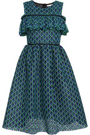 MAJE Ruffle-trimmed crochet-knit dress