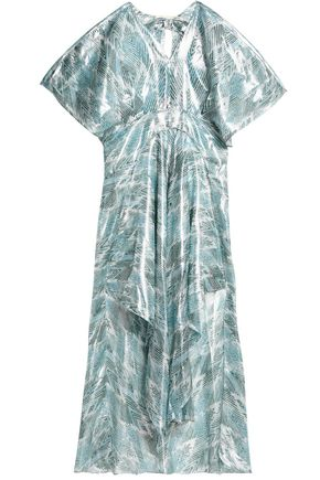 MAJE Metallic printed silk-organza maxi dress