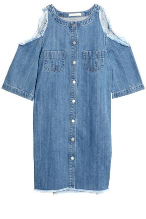MAJE Cold-shoulder frayed denim mini dress