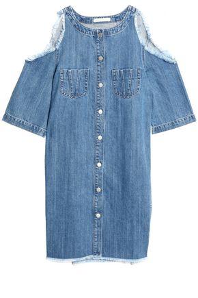 MAJE Cold-shoulder frayed denim mini dress