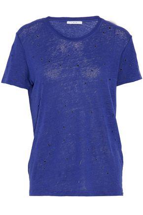 IRO Distressed slub linen-jersey T-shirt