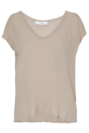 IRO Cold-shoulder cotton and silk-blend jersey top