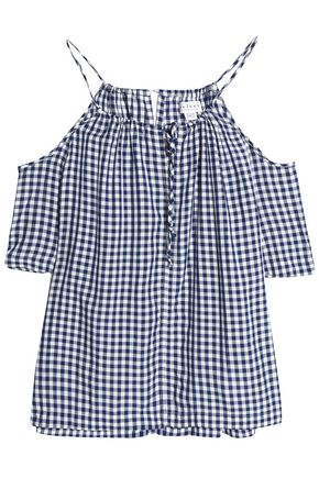 VELVET by GRAHAM & SPENCER Cold-shoulder gingham woven top