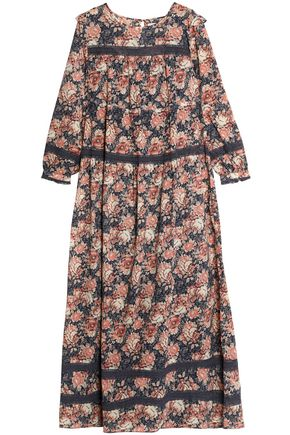 CURRENT/ELLIOTT Floral-print cotton-gauze maxi dress