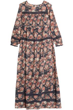 CURRENT/ELLIOTT Floral-print cotton-gauze maxi dress