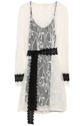 MAJE Belted corded lace dress