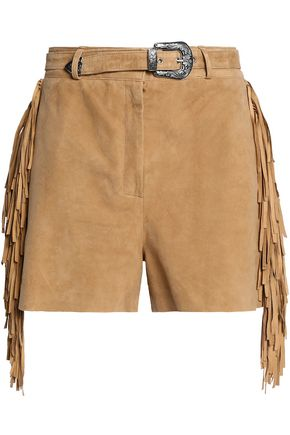 MAJE Belted fringed suede shorts